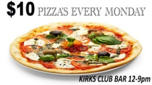 kirks hotel $10 pizza Monday